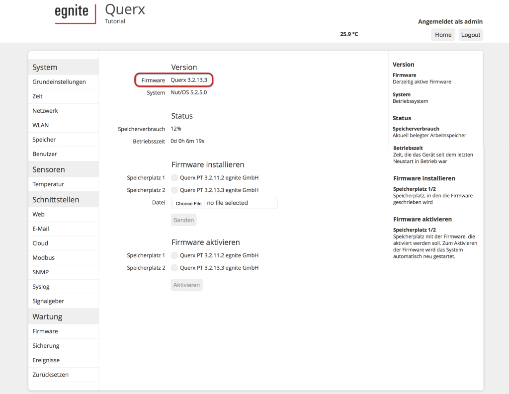 Tutorial: Querx Firmware-Update (S9)